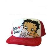 フリーサイズメッシュキャップホワイト&レッド55野球帽ベティブープBettyBoopベティちゃん帽子